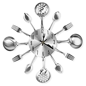 "Cigera 14"" Kitchen Cutlery Wall Clock with Forks and Spoons for Home Decor,Sliver"