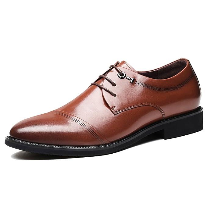 PDFGO Para Hombres Zapatos De Boda Primavera Formal Negocios Cuero Real  Negro Zapatos Con Cordones Transpirable Puntera Casual Derby Zapatos  Uniformes ... e2d728618966b