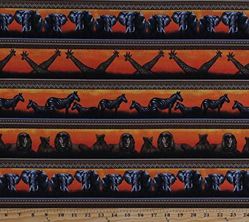 ls Giraffes Zebras Elephants Lions Wildcats Africa Wildlife Nature Safari Stripe Parallel Stripes Serengeti Rust and Brown Cotton Fabric Print by the Yard (fp6494-591) (African Safari Fabric)