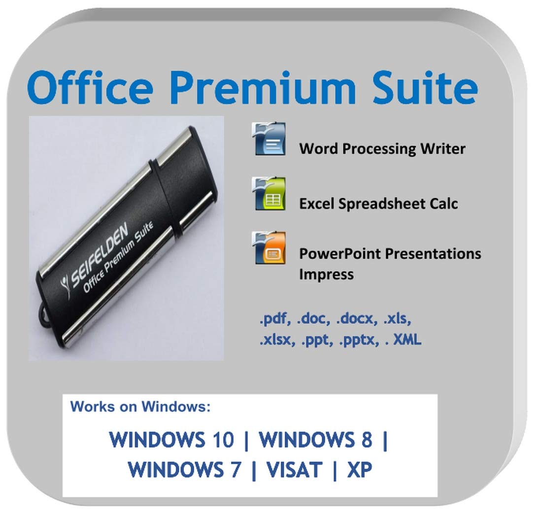 Office Suite 2019 USB Alternative to Microsoft Office Home Student and Business Compatible with Word, Excel, PowerPoint for Windows 10 8 7 Vista XP by Apache OpenOffice ms Word ms Office (USB-Drive)