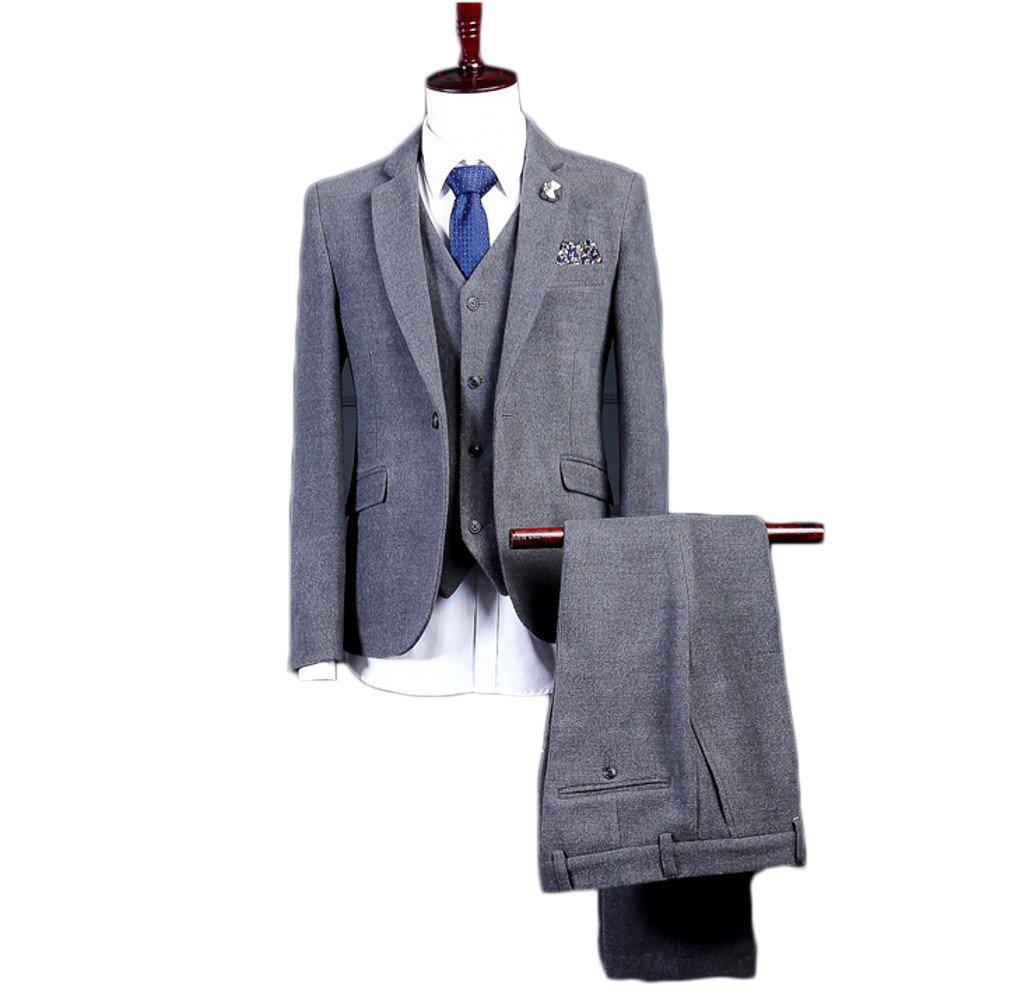 Love Dress Men's Thin Fit 3-Piece Suit Groomsman Clothing 5XL