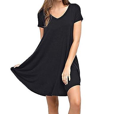 f3602100b56 Women Summer Casual Dresses Tank Sundress Solid Plain Simple with Pocket T  Shirt Loose Dress Black