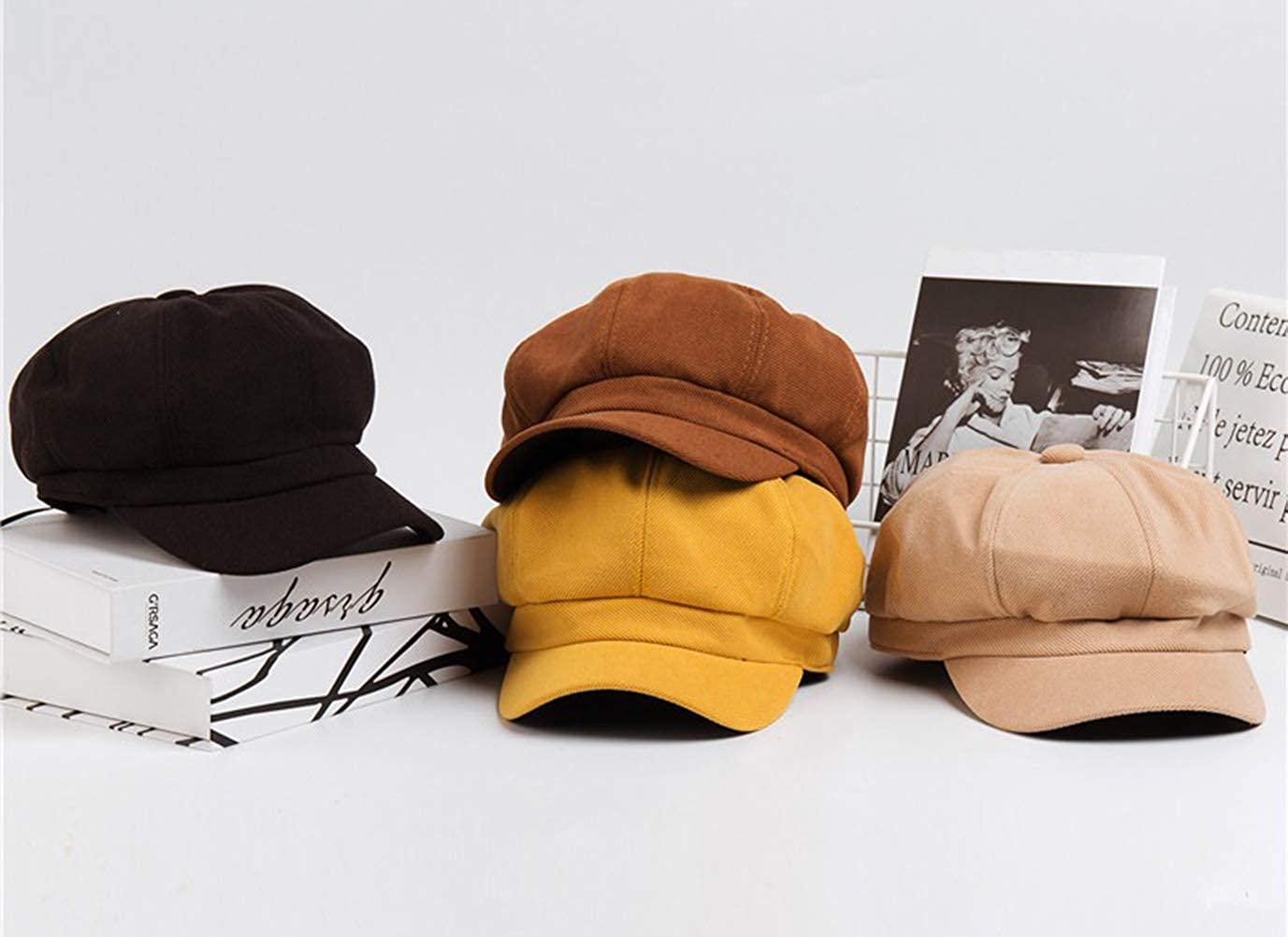 Tian Fan Ni Casquette octogonale Femmes Casquette Plate Chapeau Peintre B/éret Coton Souples Chapeau Newsboy Cap Orange