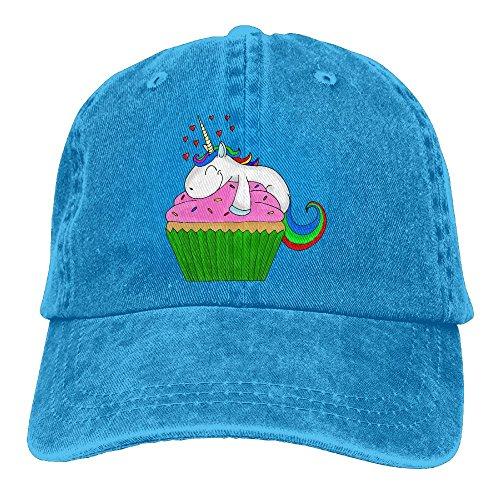 Men's Unicorn Cupcake Retro Cotton Baseball Cap Washed Denim Hat (Cupcake Denim)