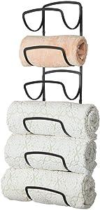 mDesign Modern Decorative Six Level Bathroom Towel Rack Holder & Organizer, Wall Mount - for Storage of Washcloths, Hand Towels - Black