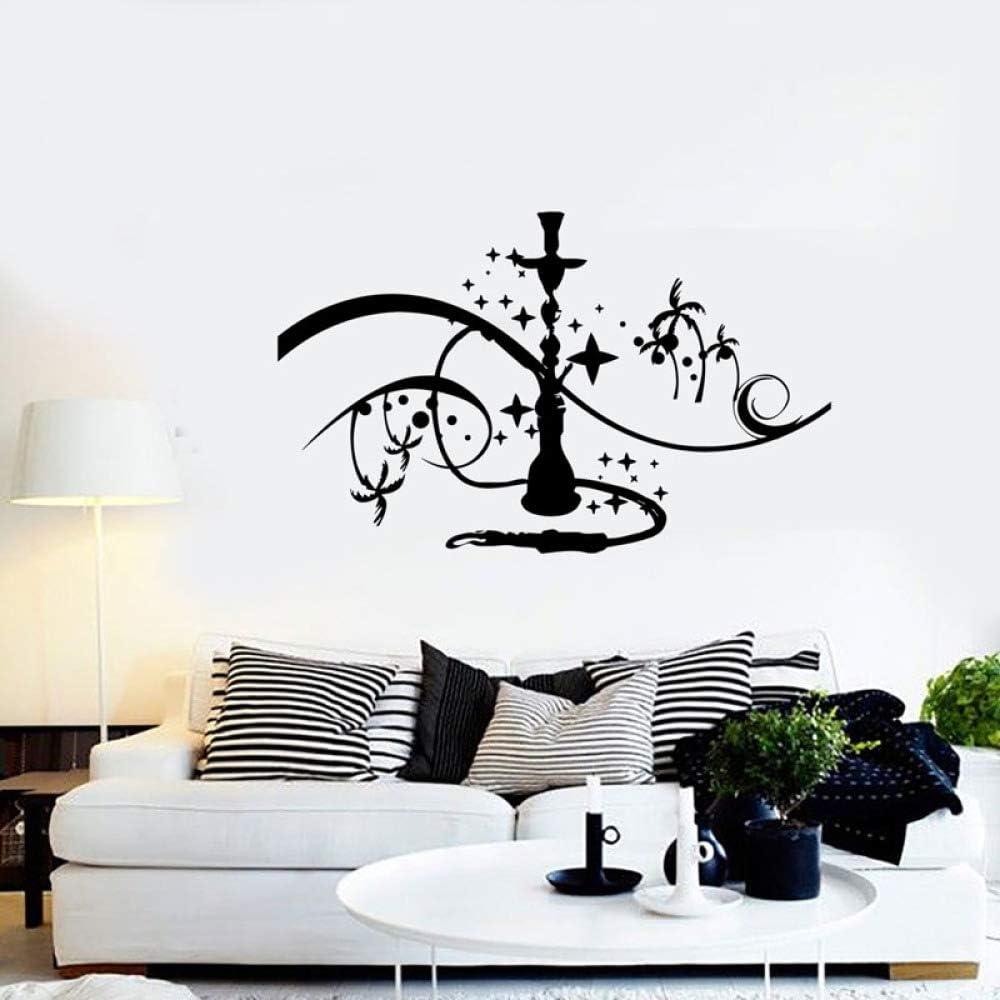 YuanMinglu Ventana Apliques Vinilo Adhesivo de Pared cachimba cachimba en la Pared de la Palma con Estrellas humeantes hogar Dormitorio Apliques Mural Arte Negro 91x57cm
