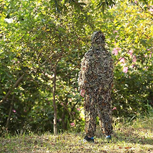 Ants-Store - Polyester Hunting Ghillie Suit Outdoor Jungle 3D Leaf Camouflage Woodland Sniper Hunting Ghillie Suits Birdwatching Clothing