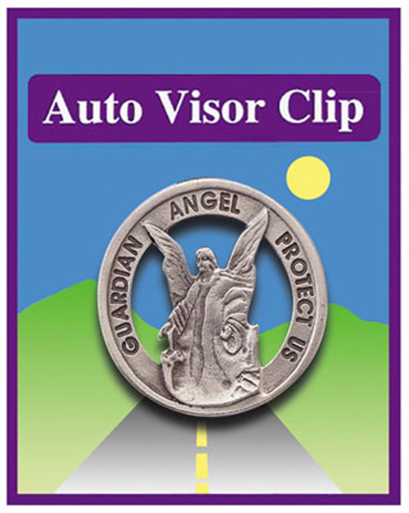 cbc Guardian Angel Protect Us Pewter Car Visor Clip