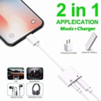 for iPhone Dongle Splitter 3.5 mm Headphone Jack Adapter Charger for iPhone 8/8 Plus/ 7/7 Plus/X/10/XS/XS Max/XR Earphone Charge and Listen to Music 3.5 mm Aux Audio and Charge Adapter Converter