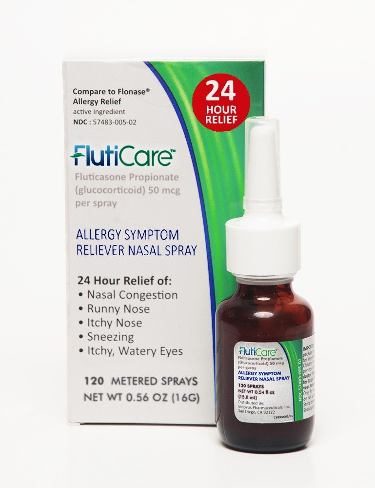 FlutiCare | Relief During Allergy Season | Nasal Spray |Fluticasone Propionate - 120 sprays (12)