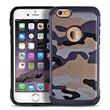 iPhone 6 6s plus case,Liujie [Camo Series] Hybrid High Impact Shock Absorption Dual Layer Army Camouflage Armor Defender Case Cover for iphone 6s plus (blue)