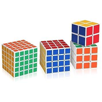 Roxenda Zauberw/ürfeln-Serie von 2x2x2 3x3x3 4x4x4 5x5x5 W/ürfeln in Geschenkverpackung IQ Spiele f/ür Kinder Zauberw/ürfeln-Serie