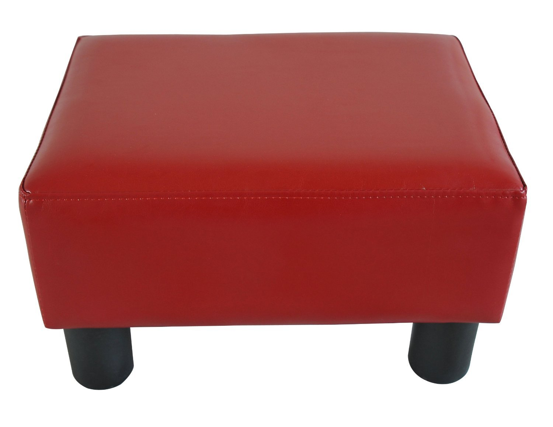 amazoncom homcom modern small faux leather ottoman  footrest  - amazoncom homcom modern small faux leather ottoman  footrest stool red kitchen  dining