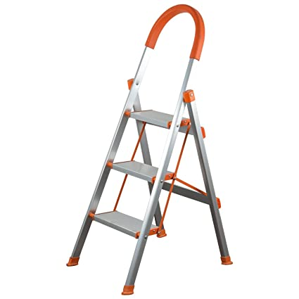 Bi3 Non Slip 3 Step Aluminum Ladder Folding Platform Stool Light Weight Aluminium Ladders 3 Step Ladder