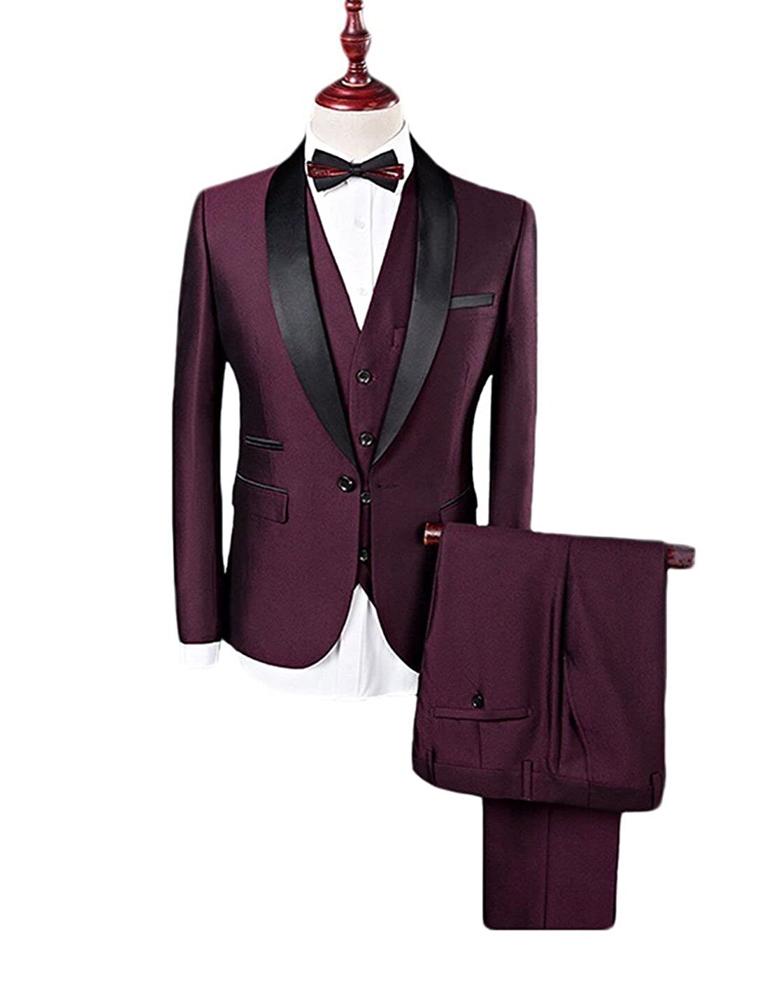 f570beb5ea4 3 Piece Burgundy Groom Tuxedos Men Blazer Party Suits(Can Be Customized) at  Amazon Men s Clothing store