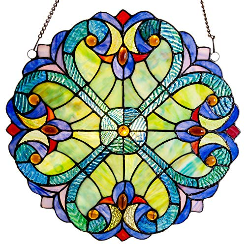 - Mini Halston Stained Glass Panel: 12 Inch Decorative Window Hanging Suncatcher - Small Round Tiffany Style Ornament - Blue Heart Decoration for the Wall or Windows with Green, Yellow and Red Accents