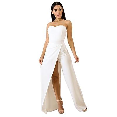 Acelitt Women's Off Shoulder Sleeveless Asymmetric Split Leg Strapless Jumpsuit Rompers: Clothing