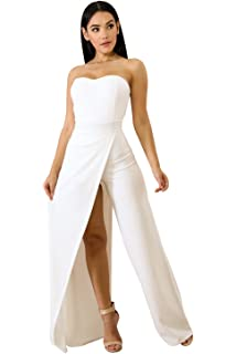 0b942f539b5 XOXO Women s Woven Crepe Ruffle Romper Maxi Dress. 5.0 out of 5 stars 1 ·   69.00 · Acelitt Women s Off Shoulder Sleeveless Asymmetric Split Leg  Strapless ...