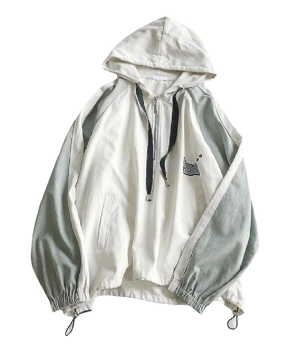 Lutratocro Mens Hoodie Stylish Loose Contrast Color Pullover Sweatshirts