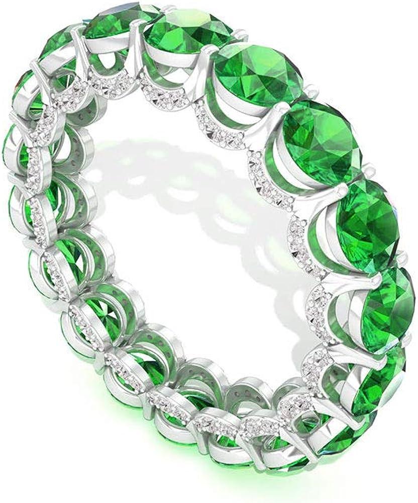 Anillo de eternidad con diamantes esmeralda, certificado IGI, anillo de boda con piedras preciosas, anillo de aniversario de diamantes de claridad de color IJ-SI, apilable para mujeres