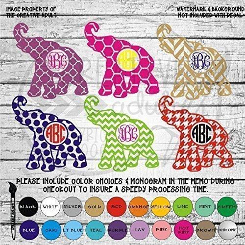 Amazoncom Patterned Elephant Monogram Vinyl Die Cut Decal - Elephant monogram car decal