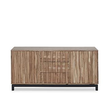 Sideboard Holz Metall Massiv Akazienholz 2 Turen 3 Schubfacher