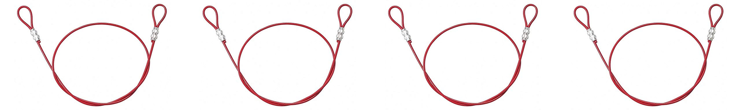 Brady 131064 Double Looped Lockout Cable, Plastic Coated Steel, 4' Cable, Red (Fоur Paсk, Red)