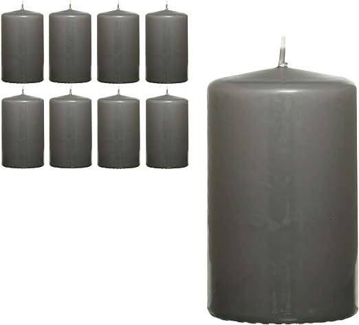 Smart-Planet® Velas Ambiente – Pack de 8 velas de color gris claro, 8 cm de alto, 4,8 cm de diámetro, velas de cera en set: Amazon.es: Hogar