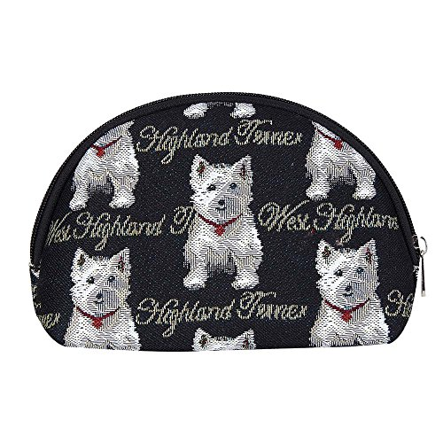 Black & White Dog Print Westie Tapestry Makeup Bag Travel Cosmetic Bag Brush Bag for Women Girls by Signare (COSM-WES)