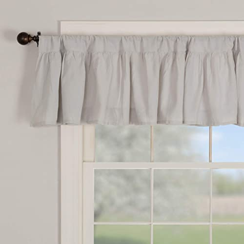 Piper Classics Annabelle Gray Ruffled Valance Curtain, 72 x 16 , Light Gray, Semi-Sheer, Vintage Farmhouse Chic Style Curtain