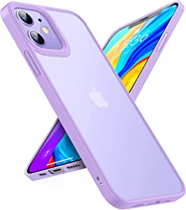 TORRAS Shockproof Compatible for iPhone 12 Case/Compatible for iPhone 12 Pro Case, [Military Grade Drop Tested] Translucent Matte Hard PC Back with Soft Silicone Edge Slim Protective Guardian, Purple