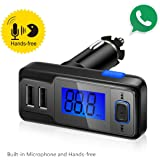 【UPGRADED】Perbeat Wireless In-Car Bluetooth FM Transmitter USB Car Charger Radio Adapter Audio Receiver Stereo Music Car Kit Hands Free Call with Micro SD/TF Card Slot, Dual USB Charging Port