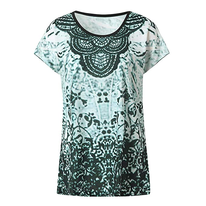 Damen Sommer Kurzarm T-shirt Shirt Tops Tee Tunika Blusen Party Oberteile S-5XL