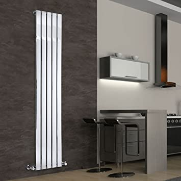 Milano Alpha   Chrome Slim Panel Vertical Designer Radiator 1800mm X 375mm    Slim Vertical Panel