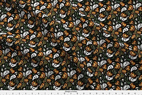 Spoonflower Halloween Fabric - Halloween Funny Funky Happy Ghost Distressed Witch - by Daria Nokso Printed on Minky Fabric by The -