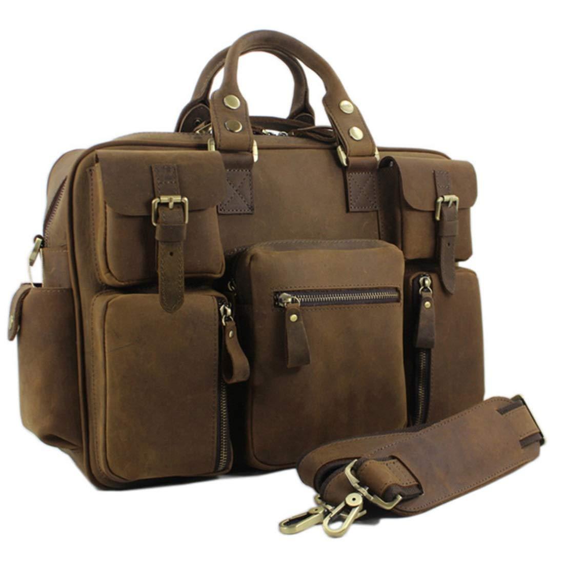 トートバッグ,手提げバッグ ポータブルトラベルバッグメンズダッフルバッグ本革ショルダーバッグクロスボディバッグ。 出勤,通学,持ち運び便利 (色 : ブラウン) B07RFQQWBS ブラウン