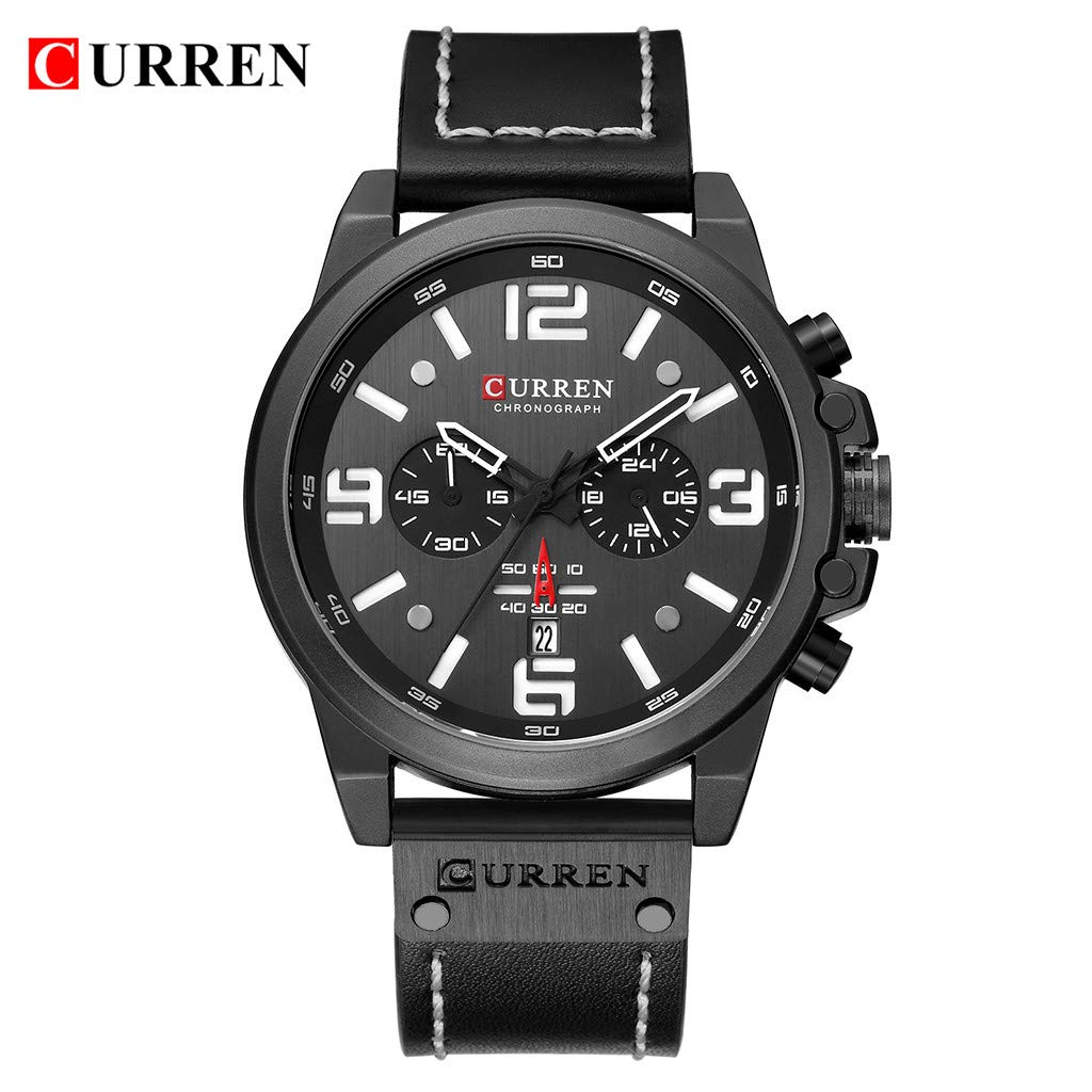 LUXISDE Men's Watches Wrist Watch Mens Watches Sport Waterproof Calendar Leather Chronograph Quartz Watch 10 by LUXISDE (Image #2)