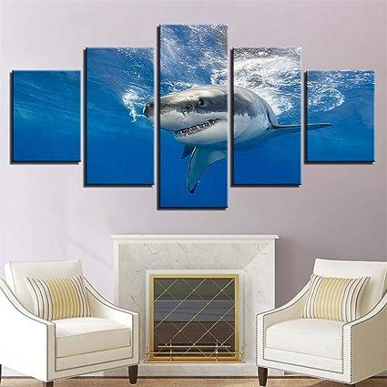 Xueyuy Toile Fond D écran Hd 5 Pièces Requin Sous Marin
