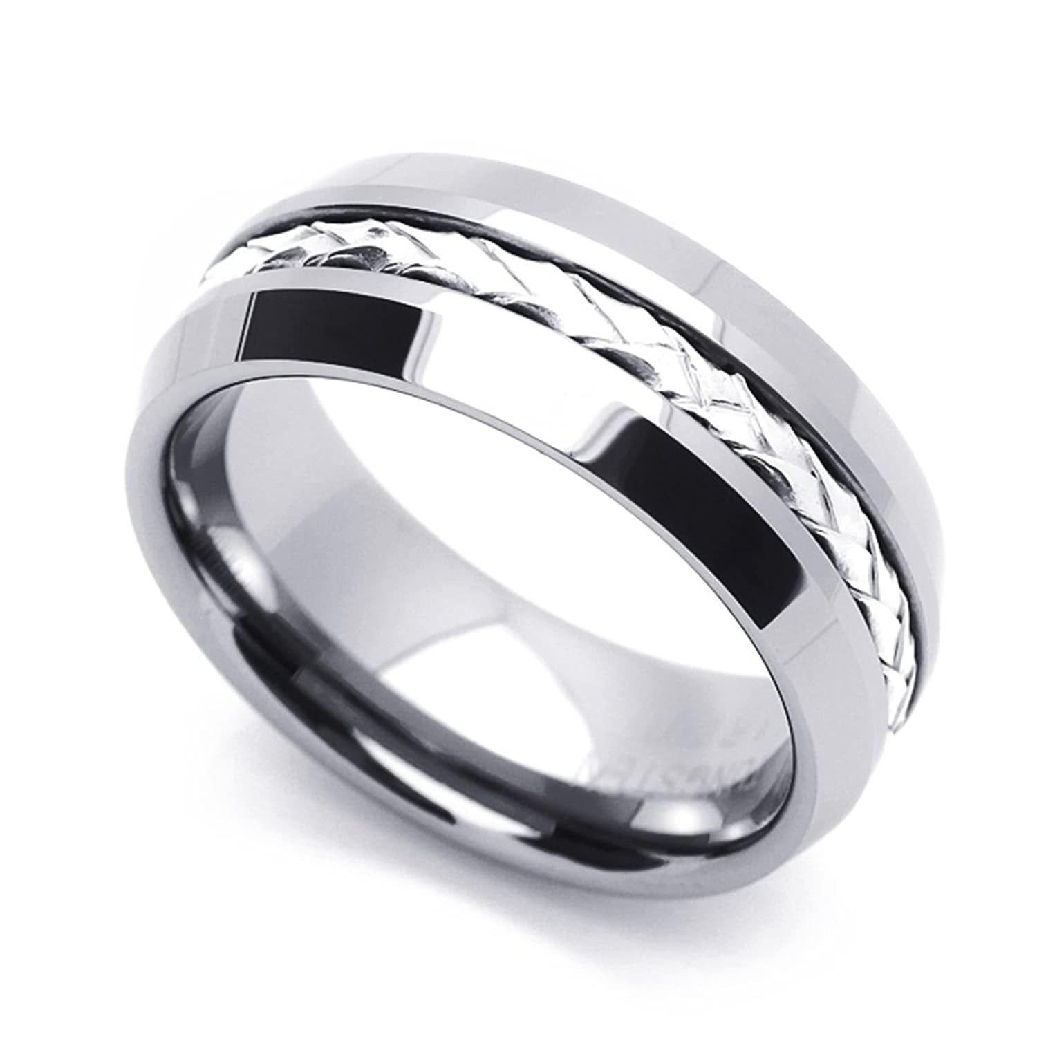Custom Engraving 8MM Comfort Fit Tungsten Wedding Band Braided Silver Strand Inlaid Promise Ring