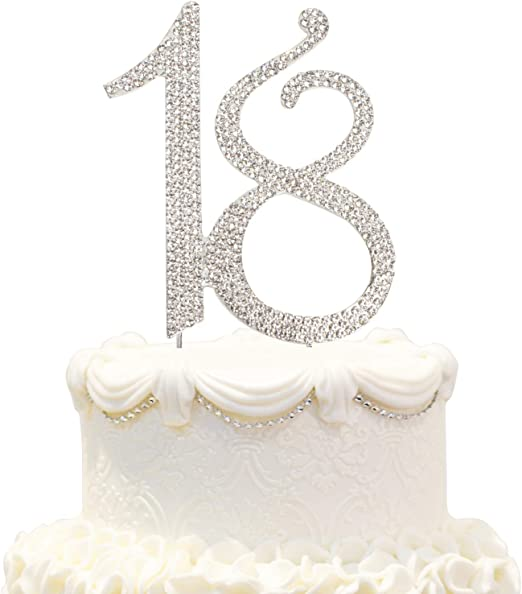 Shiny Crystal Rhinestone Number Birthday Wedding Cake Topper Party Cake Decor
