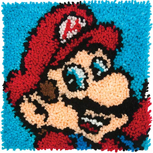 Dimensions Arts and Crafts Super Mario Latch Hook Kit, 12''L x 12''H ()
