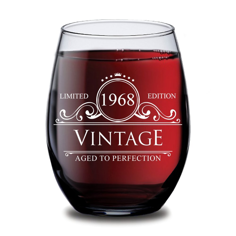 1968 50th Birthday Gifts for Women and Men Wine Glass - Circle Vintage Ruby Anniversary Gift Ideas for Him, Her, Husband or Wife. Cups for Dad and Mom.15 oz Glasses. Red, White Wines Party