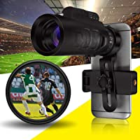 BELONG 40x60 HD Zoom Optional Monocular Hunting Camping Telescope Scope BAK4 Smartphone Camera Lens with Phone Holder