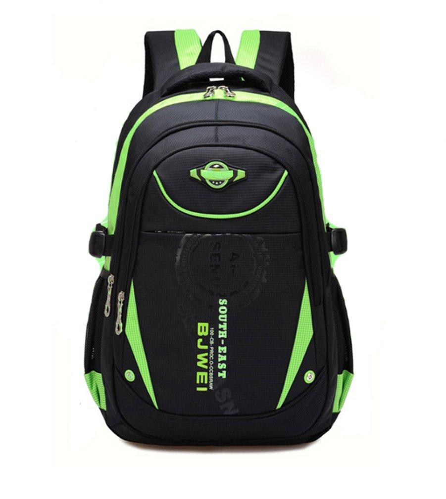 Waterproof School Bag Phaedra FU School Durable Travel Camping Backpack For Boys and Girls Elementary School (Green)