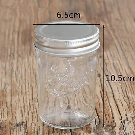 Frasco de vidrio de mermelada transparente sellado tarro de aluminio cubierta de diamante boca ancha -
