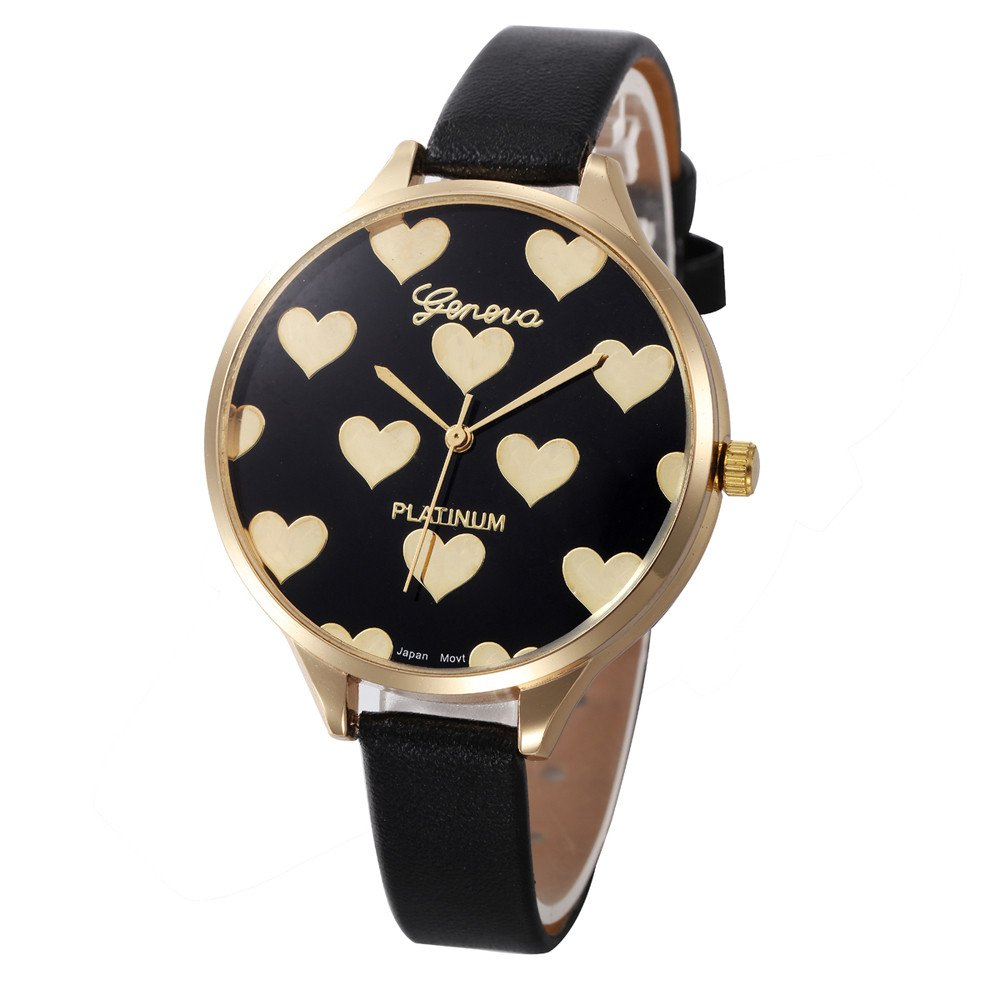 2019New Fashion Women Casual Checkers Faux Leather Quartz Analog Wrist Watch Outsta Heart Shape Wristwatch Hot!!! (Black)