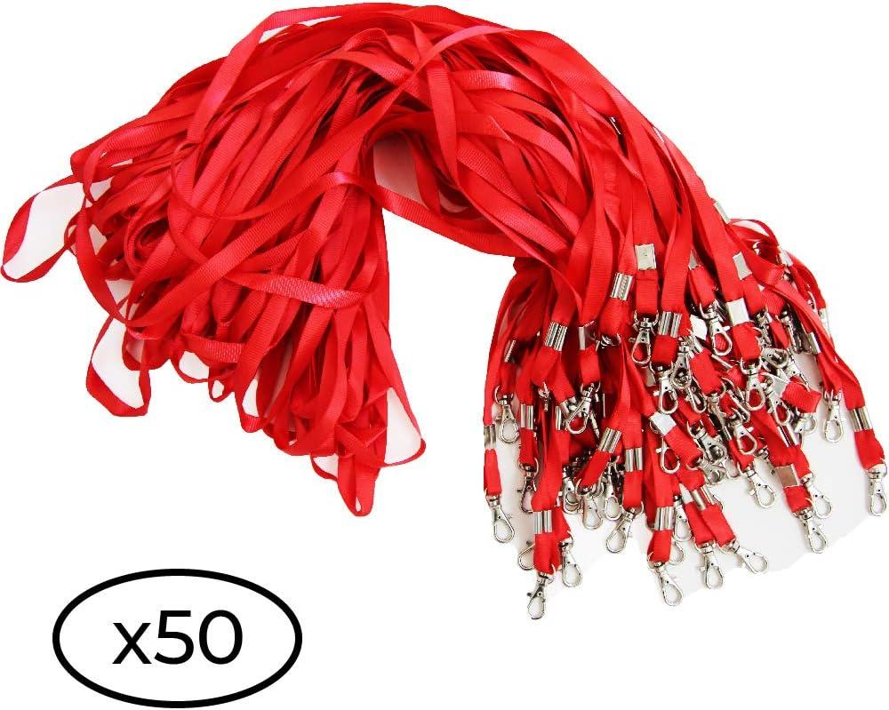Rouge, 100 Cordon de cou pour porte badge carte didentification Lot de tour de cou avec attache /à clip m/étallique