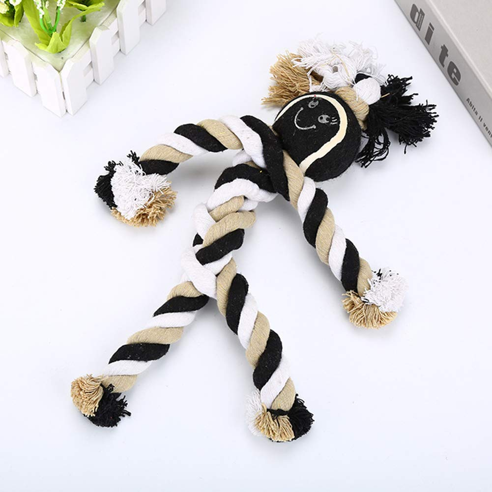 Dog Rope Toys Chew Tennis Herringbone Shape Tooth Cleaning and Grinding Rope Cotton Rope Bone bite Resistant Rope Knot Toy pet Toy