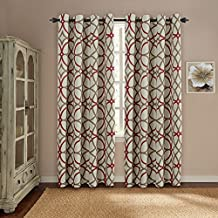 Ultra Soft Thermal Insulated Blackout Window Curtains Grommet Indoor Panel Drapes - 52 by 96 Inch Long - Set of 2 - Taupe and Red Geo Pattern