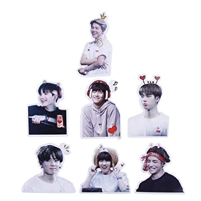 perfect-kim Kpop BTS Meme Stickers Skateboard Waterproof Trolley Case Laptop Skateboard Stickers Toys Gifts for Kids(3-6 cm 7pcs-2): Kitchen & Dining